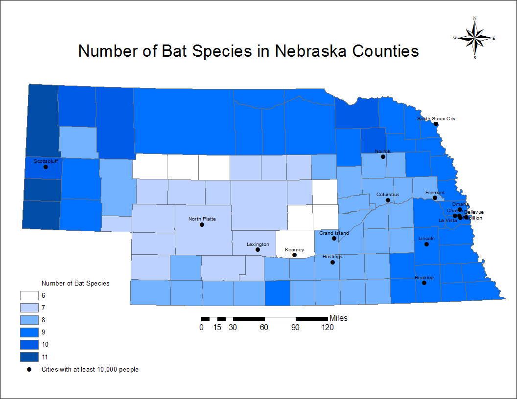 Number of bats per county in Nebraska