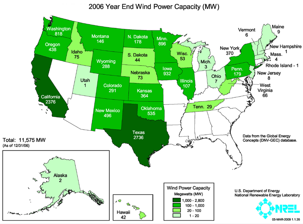 Installed wind power capacity 2006