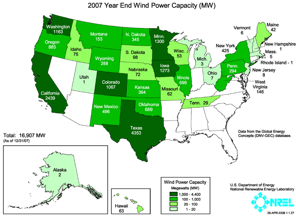 Installed wind power capacity 2007